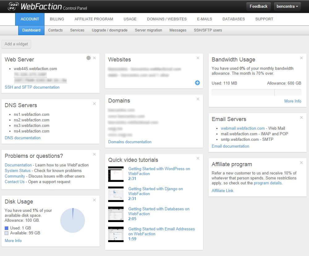 Webfaction dashboard